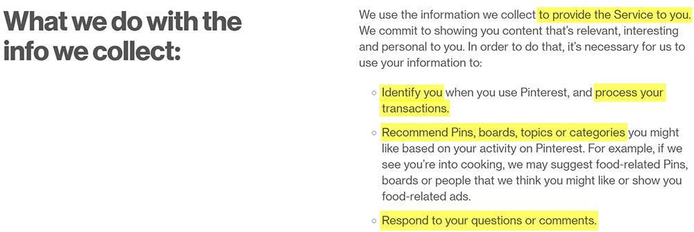 Norme sulla privacy di Pinterest: clausola Cosa facciamo con le informazioni raccolte