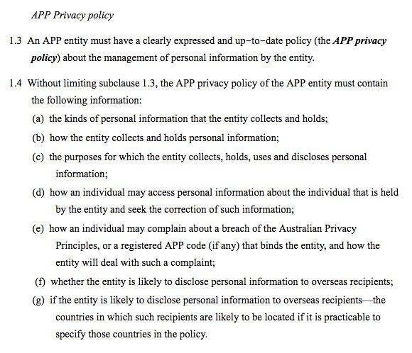 OAIC, Privacy Fact Sheet 17: Australische Datenschutzgrundsätze - APP Privacy Policy Clause