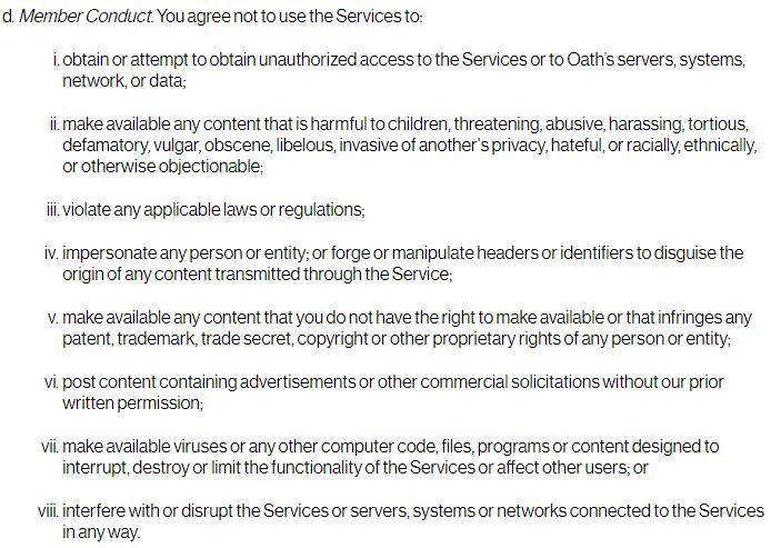 Condiciones de Servicio de Oath: Cláusula de Conducta de los miembros