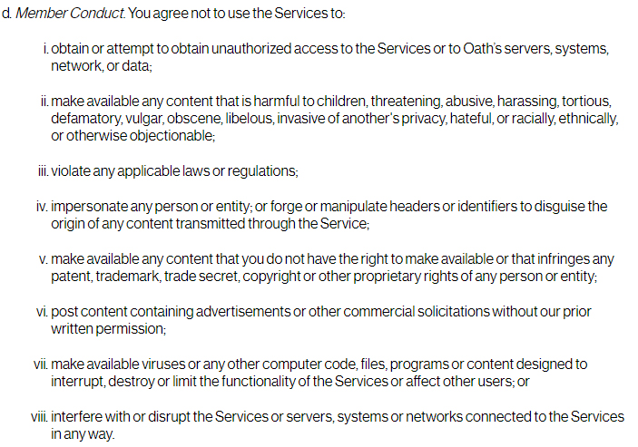 Oath Nutzungsbedingungen: Klausel über das Mitgliederverhalten