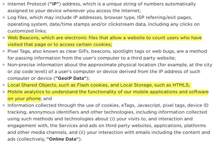 Privacybeleid Ookla: Clausule Welke informatie we verzamelen gemarkeerd