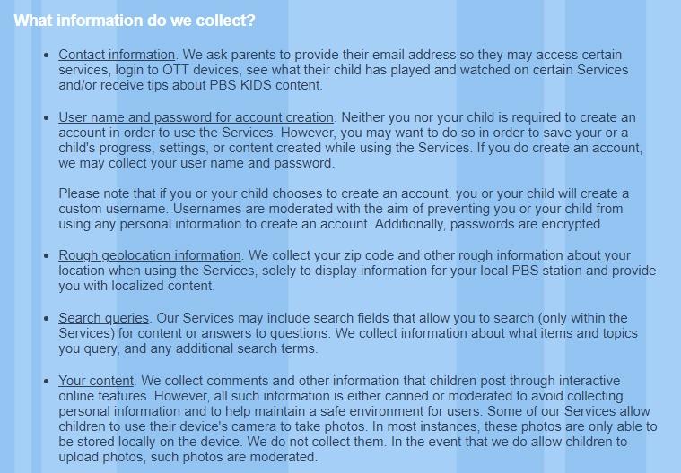 Privacybeleid PBS Kids: Uittreksel clausule Welke informatie verzamelen we