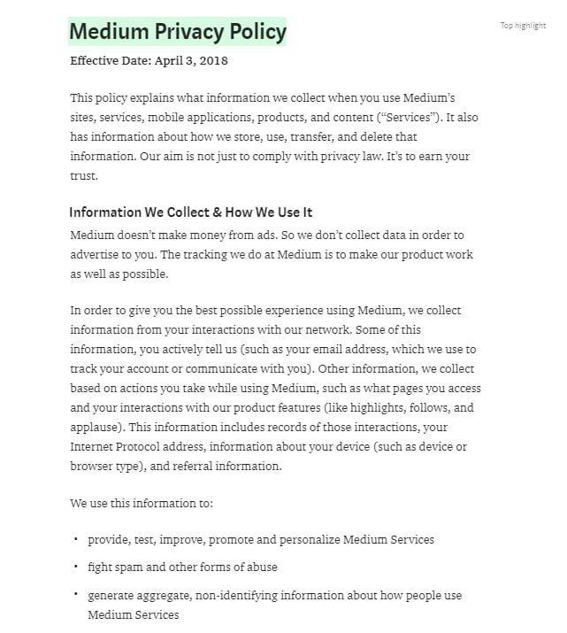 Politica sulla privacy di Medium: clausola Dati raccolti e modalità di utilizzo