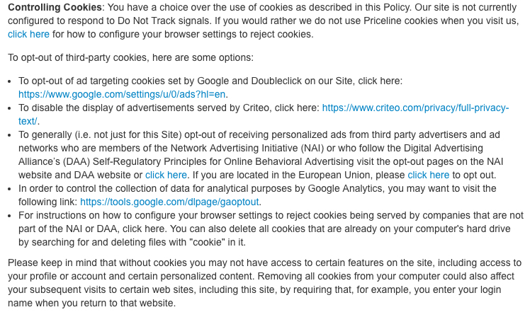 Priceline Datenschutz- und Cookies-Richtlinie: Klausel über Kontrolle von Cookies