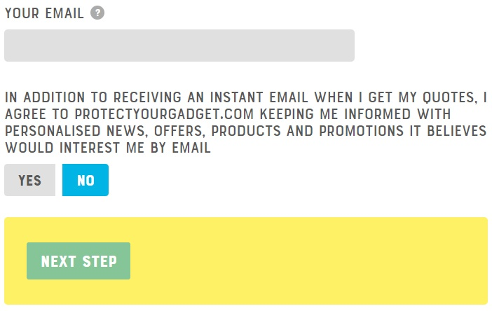 Protect your Gadget E-Mail-Anmeldeformular