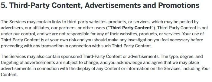 Gebruikersovereenkomst Reddit: Uittreksel clausule betreffende content van derde partijen