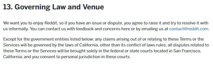 Gebruikersovereenkomst Reddit: Uittreksel van de clausule betreffende het geldend recht en de locatie