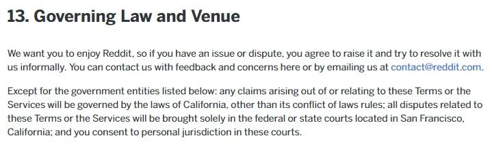 Accord d'Utilisation Reddit : Extrait Clause Droit applicable et Lieu