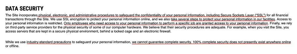Rogue Fitness Privacy Policy: Data Security clause
