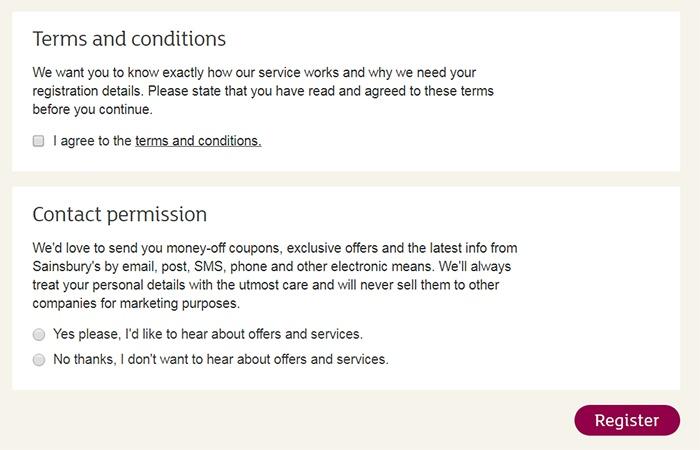 Formulario de registro de Sainsbury con consentimiento clickwrap de las Condiciones Generales y autorización para contactar