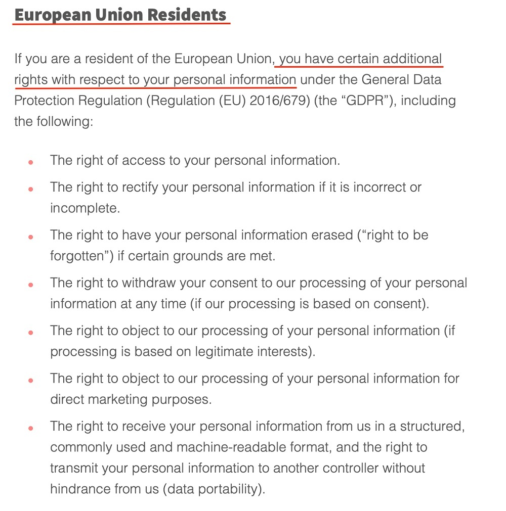 Screencastify Privacy Policy: European Union Residents clause excerpt