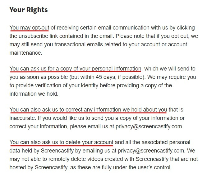 Screencastify Privacy Policy: Your Rights clause excerpt