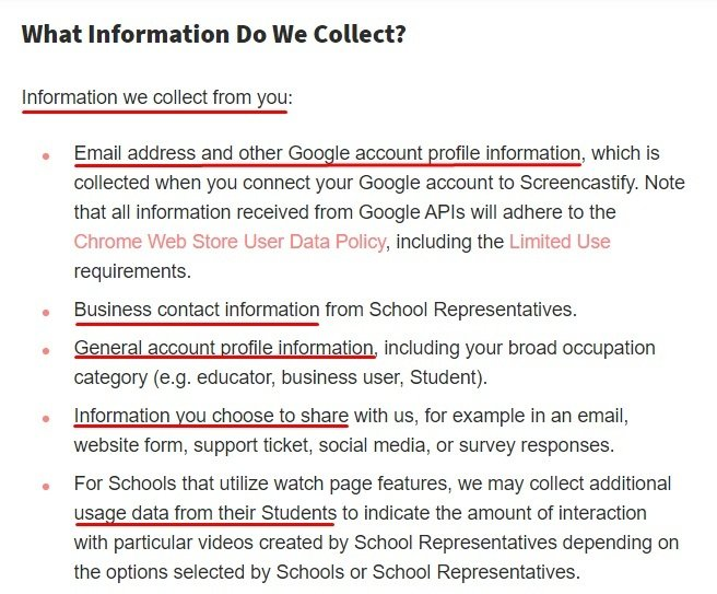 Screencastify Privacy Policy: What Information we Collect from You clause excerpt