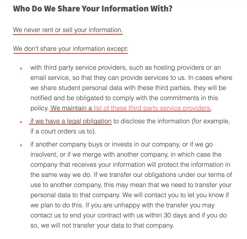 Screencastify Privacy Policy: Who Do We Share Your Information With clause excerpt