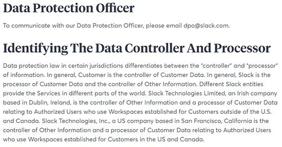 Política de Privacidad de Slack: Delegado de protección de datos e identificación del Responsable de los datos y cláusulas relativas al Encargado del tratamiento