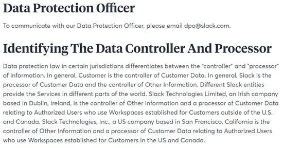 Privacybeleid van Slack: Clausules betreffende de functionaris gegevensbescherming en de identificatie van de verwerkingsverantwoordelijke en verwerker