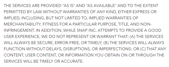 Condiciones de servicio de Snap: Cláusula de descargo de garantía