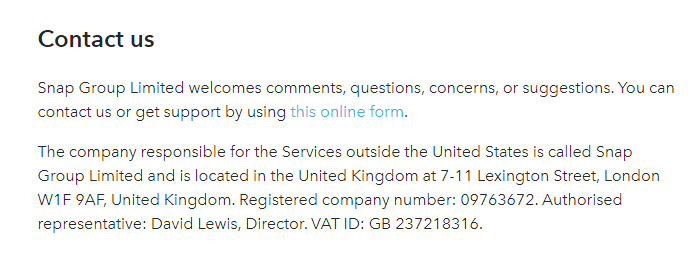 Conditions de Service Snap : Clause Contacter