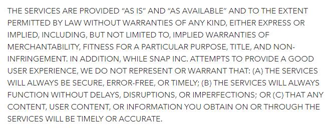 Conditions de Service Snap : Clause Exclusion de Garantie