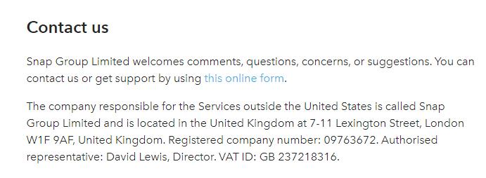 Dienstenvoorwaarden Snap: Clausule betreffende contact