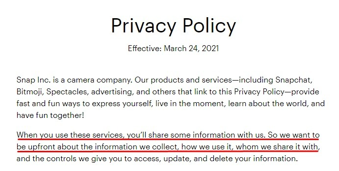 Snap Privacy Policy: Introduction section