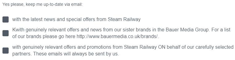 Steam Railway E-Mail Anmeldeformular Kontrollkästchen
