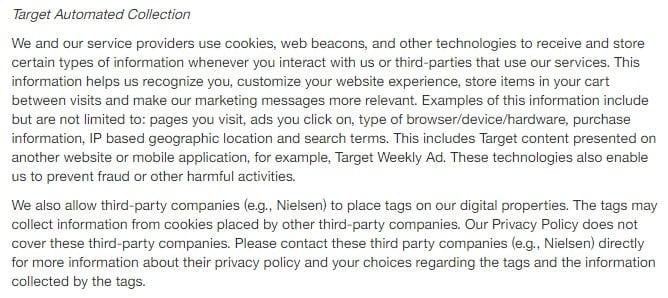Target Datenschutzrichtlinie: Klausel über die automatische Erhebung von Cookies
