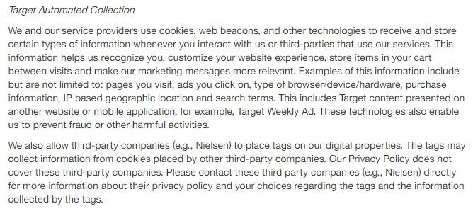 Política de Privacidad de Target: Cláusula de cookies de recopilación automática