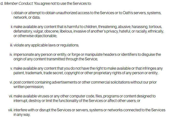 Termini di servizio di Oath: clausola Condotta dei membri