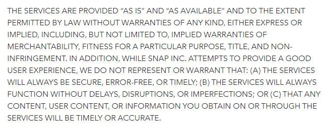 Termini di servizio di Snap: clausola Esclusione di garanzia