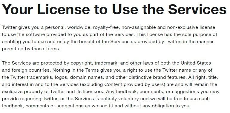 Termini di servizio di Twitter: Licenza d'uso - clausola Proprietà intellettuale