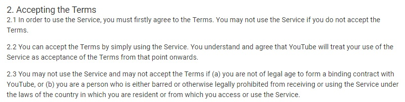 Termini di servizio di YouTube: clausola Accettazione dei termini