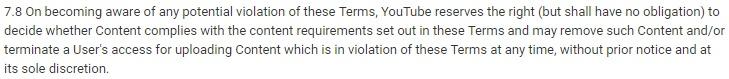 Clausola di recesso dei Termini di servizio di YouTube