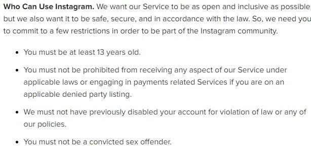 Termini d'uso di Instagram: Chi può usare Instagram - clausola Restrizioni