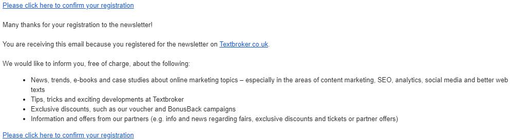 E-Mail-Bestätigung des Newsletter-Abonnenments von Textbroker
