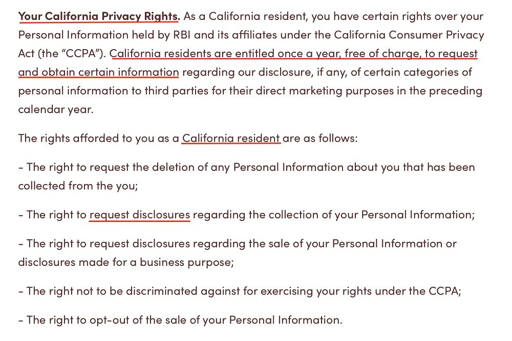 Tim Hortons Privacy Policy: Your California Privacy Rights clause excerpt