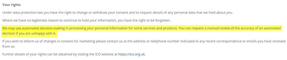 Aviso de tratamiento correcto de Towergate: Sección «Sus derechos»: Toma de decisiones automatizadas: RGPD