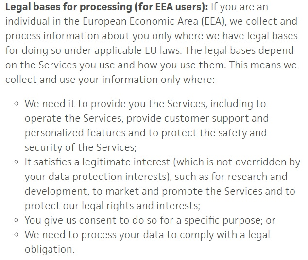 Politique de Confidentialité Trello : Clause Bases légales du traitement pour les utilisateurs de l'EEE