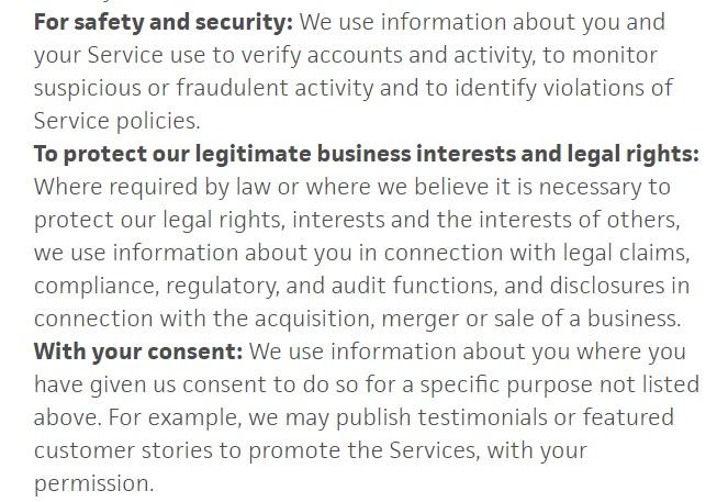 Política de Privacidad de Trello: Extracto de la cláusula «Información que recopilamos» y que incluye los intereses legítimos, la seguridad y la autorización