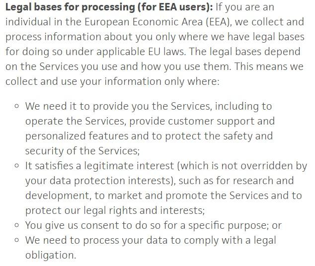 Privacybeleid Trello: Clausule Rechtsgronden voor verwerking voor EER-gebruikers