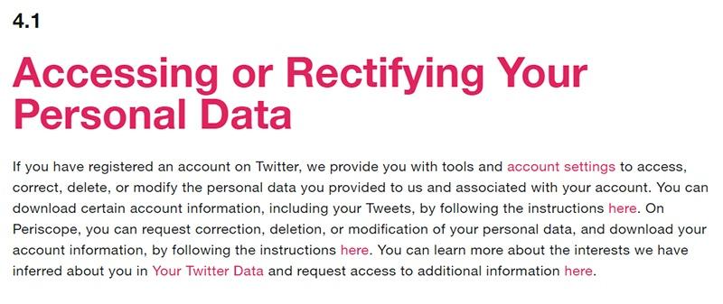 Politique de Confidentialité Twitter : Clause Accéder à ou rectifier vos données à caractère personnel