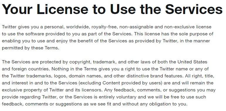 Twitter Nutzungsbedingungen: Ihre Nutzungslizenz - Schutzrechtklausel