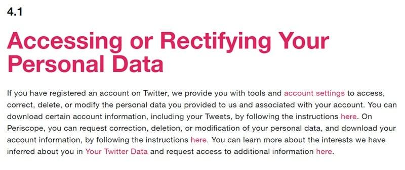 Privacybeleid Twitter: Clausule inzage of rectificatie van persoonsgegevens