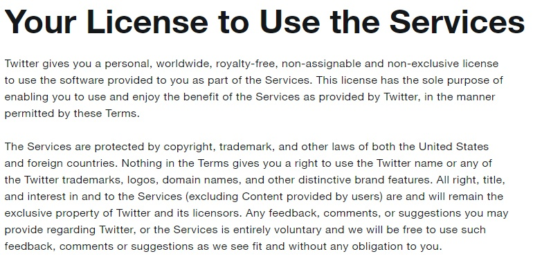 Dienstenvoorwaarden Twitter: Uw gebruikslicentie - Clausule betreffende intellectueel eigendom