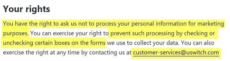Politique de Confidentialité uSwitch : Clause Vos droits : RGPD