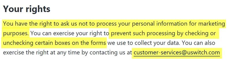 Política de Privacidad de uSwitch: Cláusula Sus derechos: RGPD