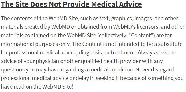 Condiciones Generales de WebMD: Extracto del descargo de responsabilidad del asesoramiento médico