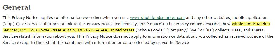 Whole Foods Datenschutzrichtlinie: Allgemeine Klausel mit markierten Kontaktangaben
