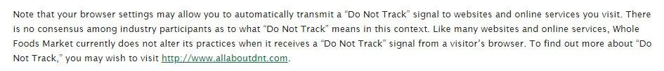 Whole Foods Datenschutzrichtlinie: DNT (Do Not Track) Klausel