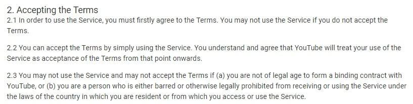 Condiciones de servicio de YouTube: Cláusula de aceptación de Condiciones Generales